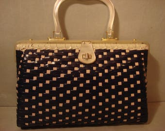 Vintage 1960s Navy and White Straw Weaved Handbag Purse With Pearl Handle