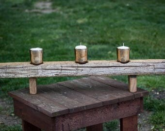 Reclaimed wood candle holder.