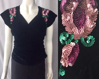 1930s 1940s sequinned evening blouse