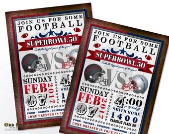 Superbowl Party Invitation, Superbowl 50, Football Party Invite, Super Bowl Party Invite, DIY Printable Football Invitation, Football Team