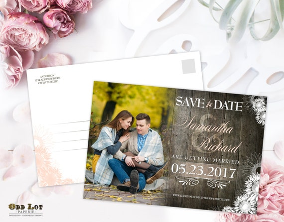 Save the Date Postcard Rustic Wood and flowers save the date calendar ...
