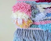 Shake Your Tail Feathers woven wall textile / fiber art decor / wall hanging / blue, pink, yellow