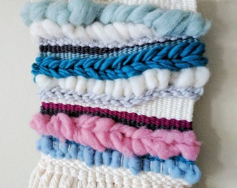 Candy Floss Tapestry Weave/ woven textile/ wall art/ wall hanging/ white, blue, pink