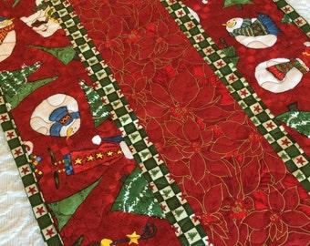 Christmas Table Runner Quilt, Santa Claus, Snowman, Red, Green, Handmade