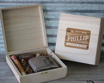 Groomsmen Cigar Box Engraved Wood Cigar Box Groomsmen Gifts Asking Groomsmen Best Man Proposal Boyfriend Gift Keepsake Box
