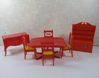 Vintage Renwal 7 Piece Red Dining Room Set Dollhouse, Renwal Red Dining Table and Chairs Yellow Set, Marx Ideal Dollhouse Red Dining Room