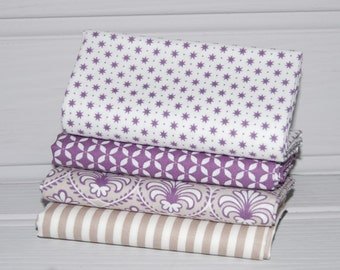 Purple and Beige Fat Quarter Fabric Bundle of 4 by Gutermann