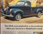 1947 STUDEBAKER TRUCK Original Vintage Automobile Advertisement Ready To Frame Additional Ads Ship FREE
