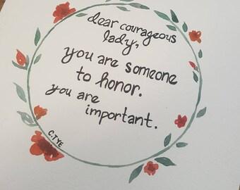 Dear Courageous Lady