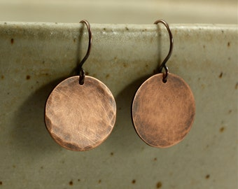 Medium Hammered Copper Disc Earrings, Aged Copper, Hammered Copper Earrings, Dangle Earrings, Rustic Earrings