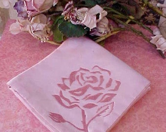 Pretty Vintage Pink Satin Hosiery Bag With Velvet Rose
