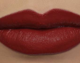 "Matte Lipstick - ""Deathcap"" (neutral red vegan lipstick with opaque coverage)"