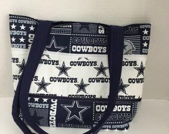 Dallas Cowboys Quilted Purse - Tote Bag - Market Bag - Shopping Bag - NFL Tote Cowboys Diaper Bag Snap Closure Shoulder Bag School bag