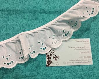 White Eyelet lace, 1 yard of 2 inch Ruffled White Eyelet lace trim for wedding, costume, bridal by MarlenesAttic - Item 6PP
