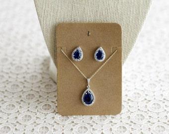 SALE Sapphire CZ Teardrop Earrings & Necklace Set, Something Blue Jewelry, Sapphire Necklace, Sapphire Earrings, Teardrop Jewelry Set, Gift