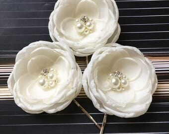Ivory Bridal fabric hair flowers hair clips pins sew on bridal dress sash flowers bridal shoe clip flowers with pearls and crystals grips