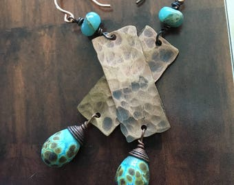 Hammered Sticks- Beautiful hand made ceramic headpins dangle from hammered copper strips