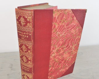 Antique Leather- Bound Scottish Novel - Roderick Random Parts I and II by Tobias Smollett - 1902 - Numbered Edition