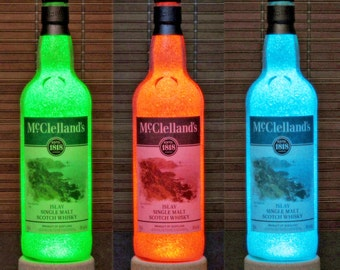 McClelland's Islay Single Malt Scotch Whiskey Color Changing RGB LED Remote Controlled Bottle Lamp Bar Light