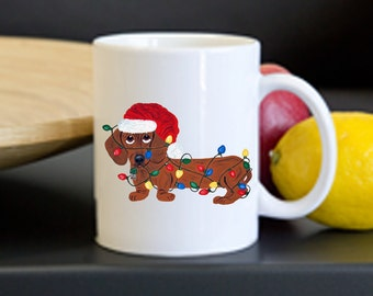 Mug/Dachshund Mug/Dachshund (Red) Tangled In Christmas Lights Mug/Christmas/Christmas Mug/Squirreldumplings/Doxie /Gifts/Wiener Dog Mugs
