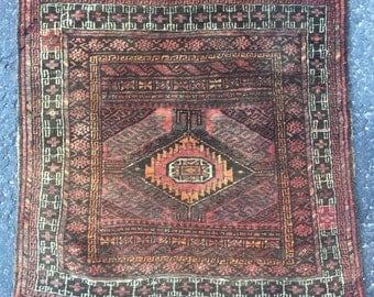 Vintage Brown and Coral Persian Rug