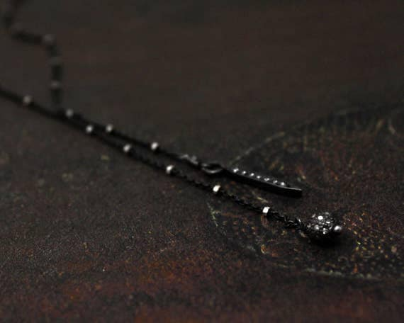 Pave Diamond Circle and Spike Lariat. Tiny Diamond Lariat. Wrap Necklace. Black Silver and Diamond Lariat. N2360B
