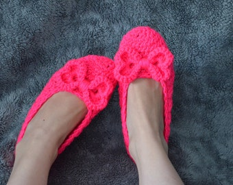 Comfy Neon Pink Womens Slippers -house shoes