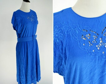 Vintage 1980's Blue Rayon Summer Dress - Belted Shirtwaist Dress with Floral Cut out - ladies size medium to large