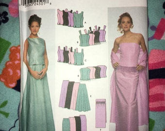 Uncut Simplicity Pattern #9466 - Wedding, Prom, Bridesmaid, Formal Maxi Evening Party Dress - Sizes 14-16-18-20 Bust 36-38-40-42