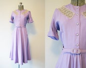 1940's Lilac Linen Day Dress / Size Medium