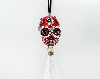 Skulls ornament day of dead charm hang rear view mirror for car