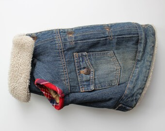 Sherpa Lined Dog Jean Jacket, Upcycled (S)