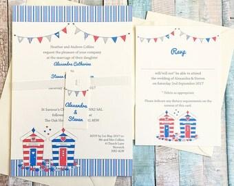 Beach Hut seaside themed wedding invitation sample