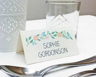 Floral design wedding place card / placecard / place name with flower / flowers theme - pack of 10 - for wedding reception tables