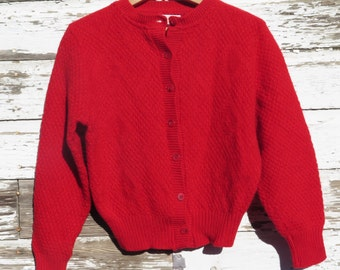 Pendleton Sweater Cardigan Women Girls Red 100% Virgin Wool Original Label Women's XS Small Mother's Day