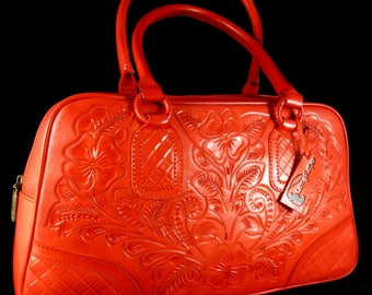 Mexican~Colorful Orange~Artistically Hand Tooled~Guadalajara~Leather Hand Purse