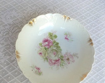 Christmas Sale Vintage White Ceramic Serving Bowl Pink and Green Rose Pattern with Gold Scalloped Trim