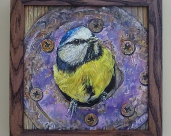"Blue Tit Oil Painting - Home - 8"" x 8"" oil board professionally framed in real ash - original British bird art"
