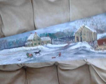HANDPAINTED SAW ART,purchased in 80's winter farm scene.kids sledding folk art