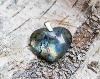 Labradorite heart pendant, heart of the ocean, natural untreated labradorite, golden blue, rainbow flash spectrolite stone, sterling silver