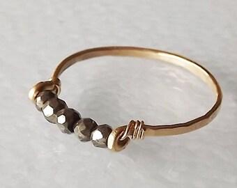 HOLIDAY SALE Hammered Gold Filled Pyrite Gemstack Ring - Gemstone Ring - Stacking Ring - Gold Ring - BIRTHSTONE ring
