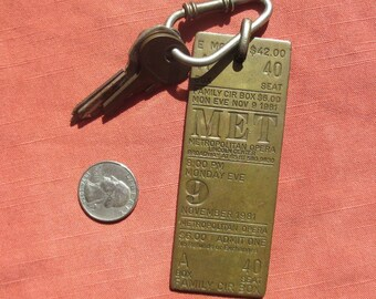 Vintage MET OPERA HOUSE Brass Box Office Seat Ticket Key Chain 1981