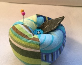 Patchwork Apple Pin Cushion in Blue and Green