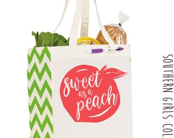 Sweet as a Peach Cotton Market Tote Bag - Canvas Farmers Market Tote - Reusable Bag - Southern Girls Collection design - Farmer's Market