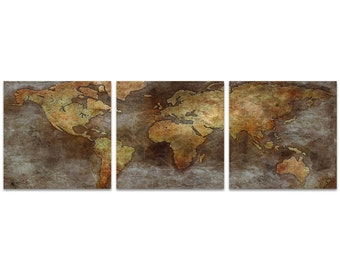 World Map Art '1800s Trade Routes Map Triptych' by Ben Judd - Rustic Wall Decor Historic Artwork on Metal or Acrylic