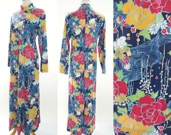 Vintage 70s Print Dress, 1970s Dress, 70s Vanity Fair Dress, 70s Pattern Dress, 70s dress, 70s Japanese print dress, 1970s nightgown