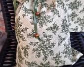 Medium Drawstring Bag, Christmas Gift Wrap Bag, Holly on Cream Drawstring Bag, Unlined Small Project Bag