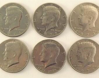 Lot Set of 6 Kennedy Coins, 1971 1972 1973 1974 (1975) 1976 Bicentennial 1977 JFK Silver Half Dollars Circulated, Philadelphia Mint
