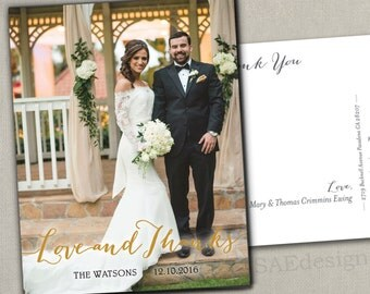 Wedding Photo Thank You Love and Thanks Photo Magnets Postcards Cards Script Gold tone Merry Little Everything Christmas New Years Holiday