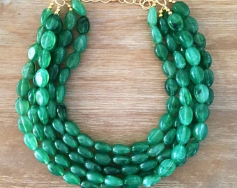 Statement Necklace Bridesmaid Jewelry JACKIE O EMERALD NECKLACE  Wedding Jewelry Statement Jewlery Green Necklace Emerald Pantone Color 2017